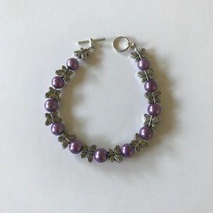Jewelry - Lavender pearl butterfly bracelet